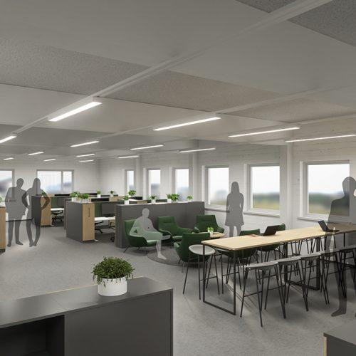 Yrityspuisto Syke, Sastamala - toimiston sisustussuunnittelu